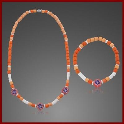 009884-901100-043--9884-43 Collier + Armband Set Holz-Perlmutt-Fimo (VE 3 Stück Set)